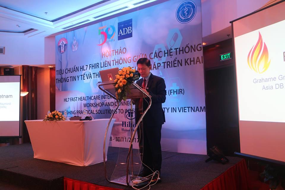 PGS TS Trần Quý Tường, Cục trưởng Cục CNTT Bộ Y tế phát biểu tại hội thảo